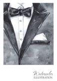 水彩葡萄酒例证 在时尚概念的手画衣服 样式人 免版税库存图片