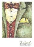 水彩葡萄酒例证 在时尚概念的手画衣服 样式人 免版税图库摄影