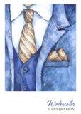 水彩葡萄酒例证 在时尚概念的手画衣服 样式人 库存照片