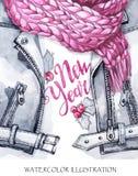 水彩葡萄酒例证 温暖的穿戴神色 手画皮夹克、编织的围巾和新年印刷品  免版税图库摄影