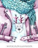 水彩葡萄酒例证 温暖的穿戴神色 手画皮夹克、编织的围巾和滑稽的鹿打印  免版税库存图片
