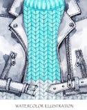 水彩葡萄酒例证 温暖的穿戴神色 手画皮夹克,在冬天时尚概念的编织的毛线衣 免版税库存图片