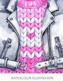 水彩葡萄酒例证 温暖的穿戴神色 手画皮夹克,在冬天时尚概念的编织的毛线衣 库存照片