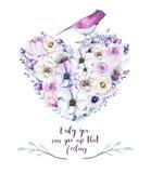 水彩葡萄酒玫瑰花卉piony心脏花束 Boho春天 向量例证