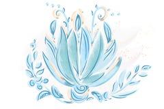 水彩蓝色叶子和花 库存照片