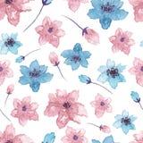 水彩蓝色和桃红色花无缝的样式 库存图片
