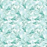 水彩蓝色和绿色叶子无缝的样式 免版税库存图片