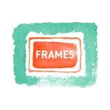水彩蓝色按钮背景和套艺术性地构筑并且塑造 免版税库存图片