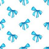 水彩蓝色深蓝磁带丝带礼物无缝的样式纹理背景 库存图片