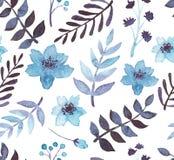 水彩蓝色花和叶子无缝的样式 库存图片