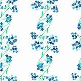 水彩蓝色花 无缝的模式 皇族释放例证