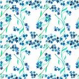 水彩蓝色花 无缝的模式 库存例证