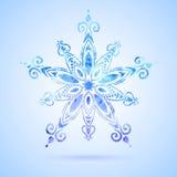 水彩蓝色雪花 免版税库存图片