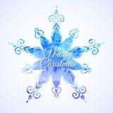 水彩蓝色雪花 库存照片
