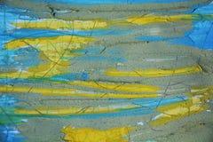 水彩蓝色黄色背景和泥 库存图片