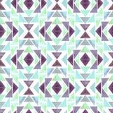 水彩薄菏和紫色三角无缝的几何样式 库存例证