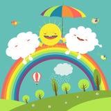 彩虹、云彩和愉快的太阳在天空 免版税库存照片