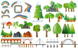 彩虹、树和设计元素 向量例证