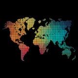 彩虹上色世界地图由小点被做 免版税库存图片