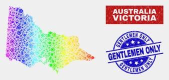 彩虹上色了工具澳大利亚人维多利亚地图和困厄仅先生们封印 皇族释放例证