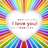 彩虹与爱的声明的心脏背景。 免版税图库摄影
