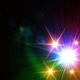 彩虹五颜六色的光,透镜火光 库存照片