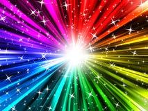 彩虹光芒和星形 免版税库存图片