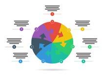 彩虹光谱上色了与在白色背景隔绝的说明文本领域的难题介绍infographic模板 免版税库存图片