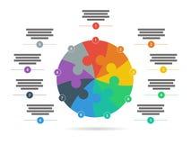 彩虹光谱上色了与在白色背景隔绝的说明文本领域的难题介绍infographic模板 免版税库存照片
