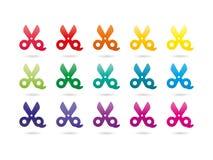 彩虹光谱五颜六色的剪刀 免版税库存照片