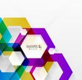 彩虹六角形现代设计模板 免版税库存图片