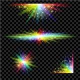 彩虹发光的光集合 免版税库存图片