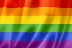 彩虹同性恋自豪日旗子 免版税图库摄影