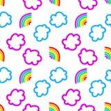 彩虹和云彩无缝的样式 库存照片