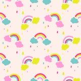 彩虹和云彩逗人喜爱的婴孩无缝的传染媒介样式 皇族释放例证