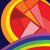 彩虹和太阳 免版税库存照片