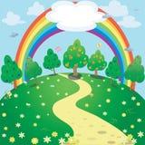 彩虹和庭院背景  传染媒介幻想例证 库存照片