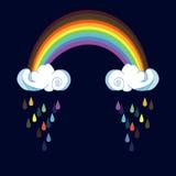 彩虹和雨云在颜色背景 婴孩室装饰的,孩子布料装饰逗人喜爱的云彩海报设计 免版税库存图片