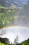 彩虹和Krimml瀑布,奥地利 库存图片