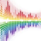 彩虹在白色的翘曲的数字式调平器 免版税库存图片