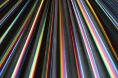 彩虹在黑织品的色的条纹 免版税库存照片