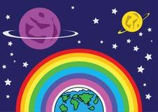 彩虹地球和火星 免版税库存照片