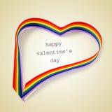 彩虹心脏和文本愉快的情人节,与一个减速火箭的作用 免版税图库摄影