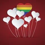 彩虹心脏气球 库存照片
