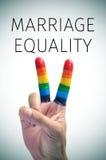 彩虹旗子和文本婚姻平等 库存图片