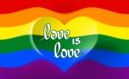 彩虹旗子是自豪感lgbt的标志,并且lgbtq以心形和文本爱是爱 快乐女同性恋的变性彩虹 向量例证