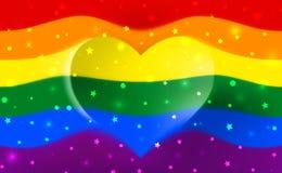 彩虹旗子是自豪感lgbt的标志,并且lgbtq以心形和文本爱是爱 快乐女同性恋的变性彩虹 皇族释放例证