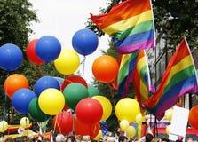 彩虹旗子,同性恋自豪日,伦敦 免版税图库摄影