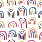 彩虹无缝的样式 手拉的当代传染媒介背景 向量例证