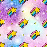 彩虹星无缝的样式背景 图库摄影